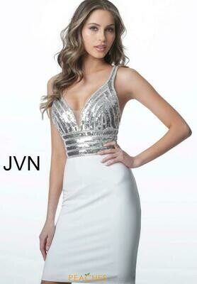 Jovani Sequined Jersey Cocktail Dress in Silver and White