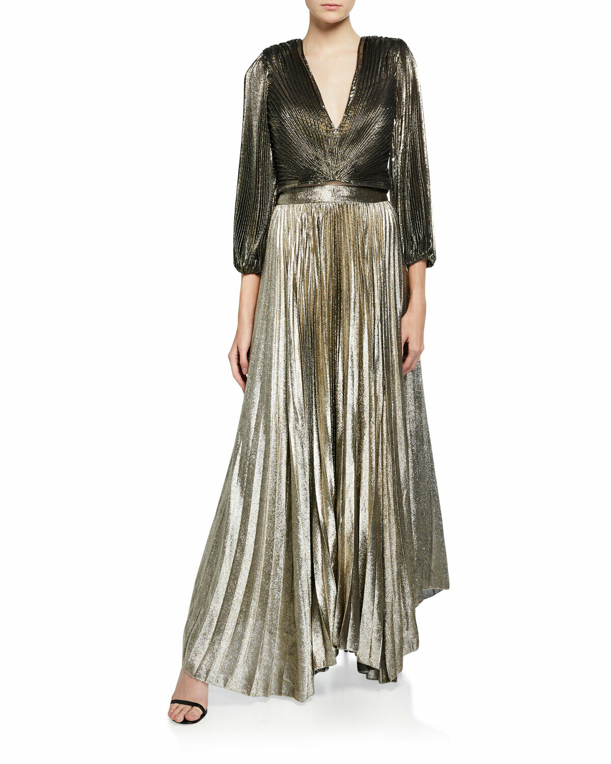 Alice & Olivia Katz Sunburst Pleated Maxi Skirt