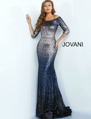 Jovani Off The Shoulder Sequin Gown in Charcoal