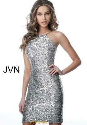 Jovani Sequined Haler Neck Fitted Dress Silver
