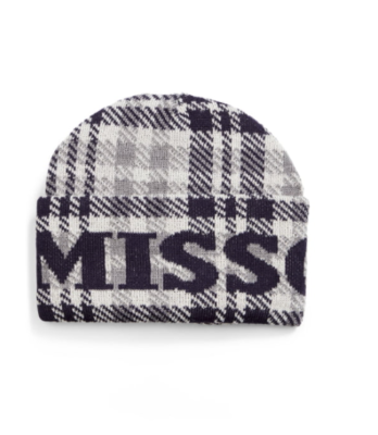 Missoni Plaid Logo Beanie in black and grey