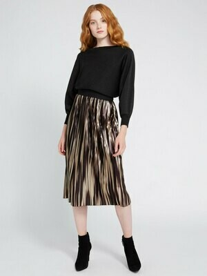 Alice & Olivia Mikaela Metallic Midi Skirt