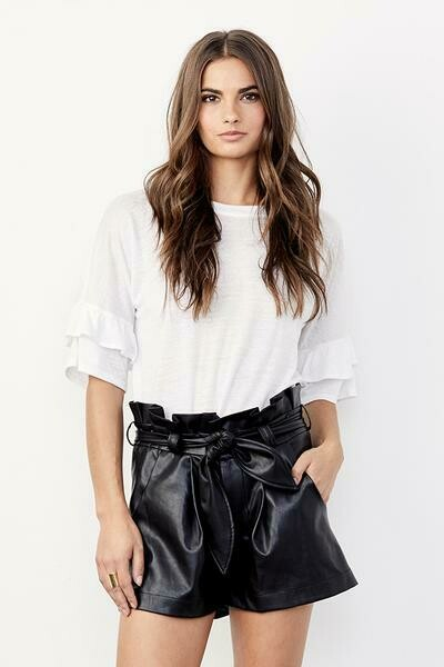David Lerner Paperbag Waist Belted Vegan Leather Shorts in Black