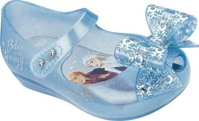 Mini Melissa Mini Ultragirl Frozen Flat, Pearl Blue Glitter