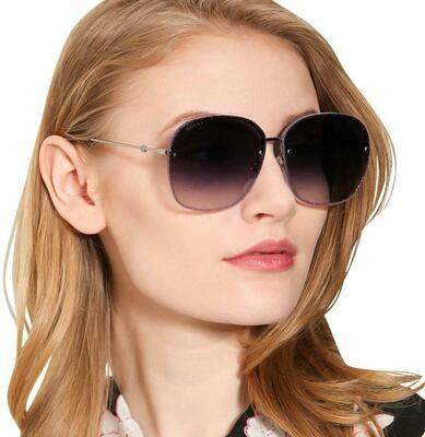 Gucci Gradient Sunglasses Metal In Gray/Purple