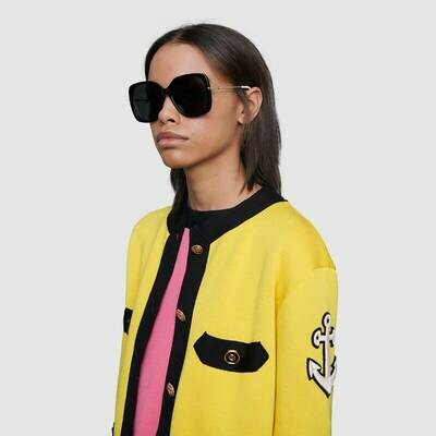 Gucci Acetate Square Sunglasses In Black/Gray
