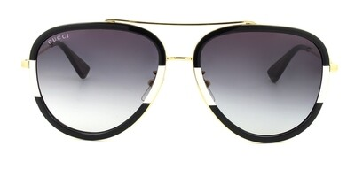 Gucci Black and White Acetate Gold Metal Aviator Sunglasses