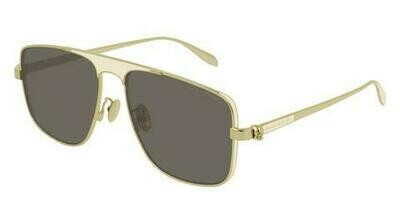 Alexander McQueen  Gold Rimmed Square Shaped Sunglasses with Brown Lenses