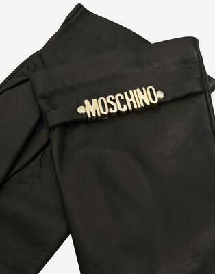 Moschino Fingerless Leather Gloves With Mini Lettering Logo