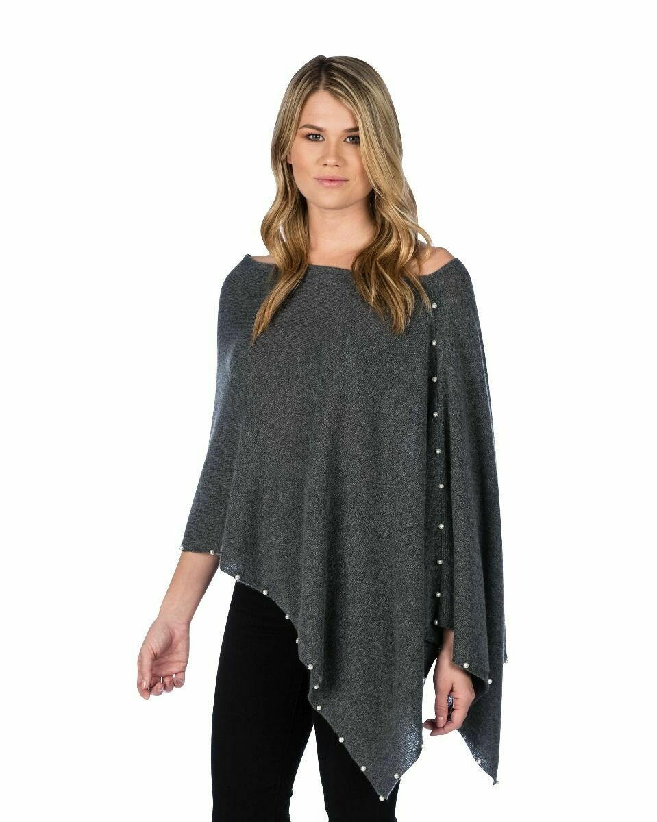 Jackie Z Cashmere Dress Topper With Pearl Trim in Graphite