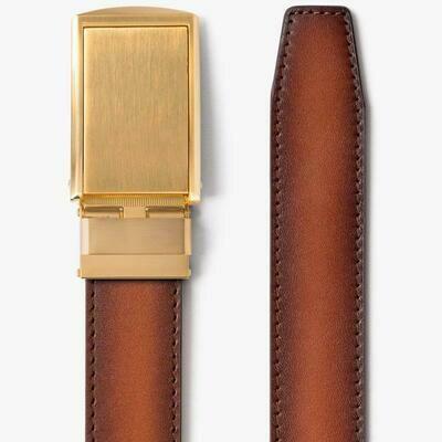 Slide Belt Cognac Full Grain Leather Belt w/ Gold buckle