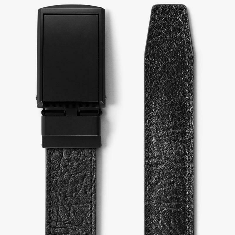 Slide Belt Black Top Grain Leather Belt w/ Matte Black Buckle
