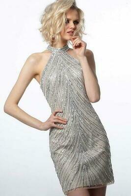 Jovani Embellish Halter Neck Cocktail Dress in Silver and White