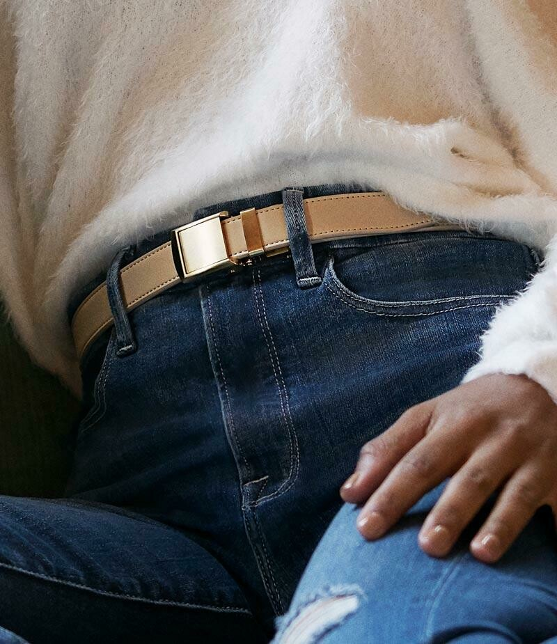 Slide Belt Skinny in Beige