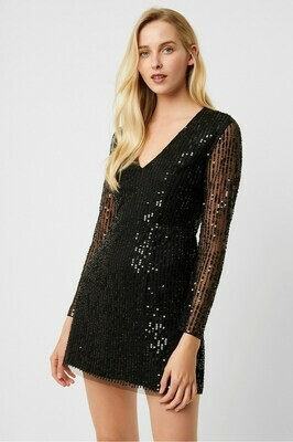 French Connection Inharhi Embellished V-Neck Sequin Dress in Black