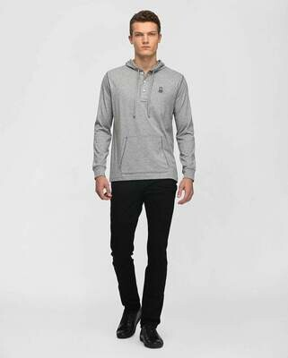 Psycho Bunny Mens Diggle Button Placket Hoodie In Heather Grey