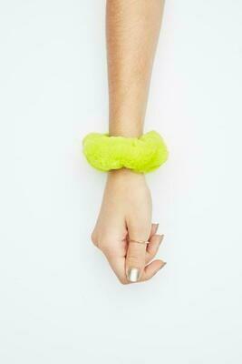 Jocelyn Sheared Rabbit Fur Scrunchie Neon