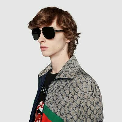 Gucci Men's Black Aviator Sunglasses With Grey Lens