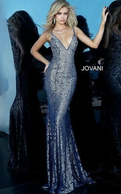 Jovani Metallic Lace Backless Dress in Navy and Silver