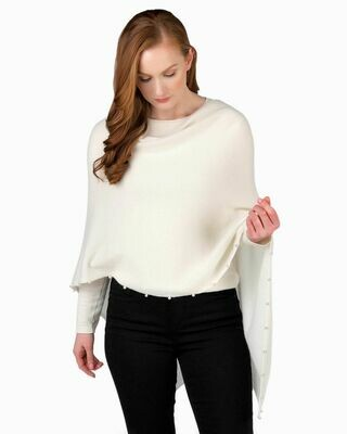 Jackie Z Cashmere Dress Topper With Pearl Trim in Off White