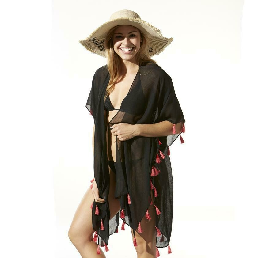 Jackie Z Bondi Beach Cover Up - Black With Coral Tassels