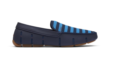 Swims Striped Venetian Loafer in Navy/Turkish Gum