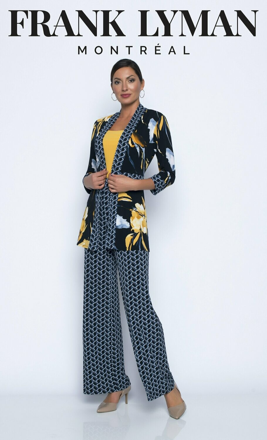 Frank Lyman Chain Motif Jersey Pant In Black and Blue
