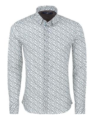 Stone Rose White Novelty Print Long Sleeve Shirt