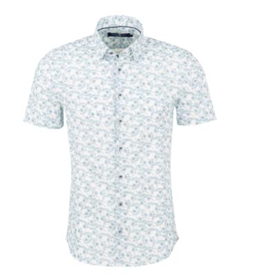 Stone Rose White Leaf Print Short Sleeve Shirt