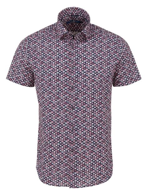 Stone Rose Pink Geometric Print Short Sleeve Shirt