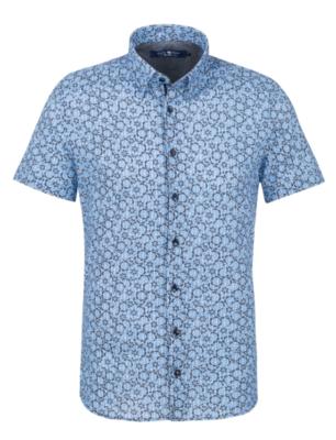 Stone Rose Blue Stripe Knit Short Sleeve Shirt