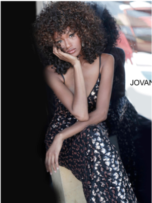 Jovani Leopard Pattern Sequin Gown in Gold and Black