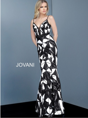 Jovani Graphic Print Evening Gown in Black and White
