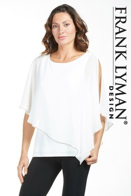 Frank Lyman Sequined Chiffon Blouse With a Split Sleeve In Off White