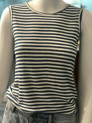 Jackie Z Sleeveless Striped Shirt In Blue and White