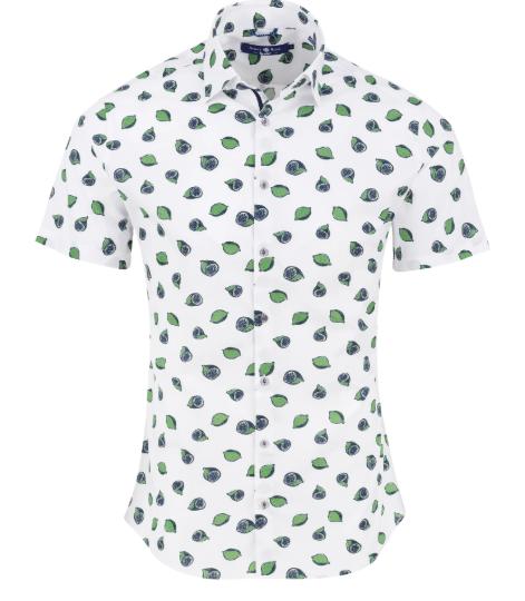 Stone Rose Green Novelty Print Short Sleeve Shirt