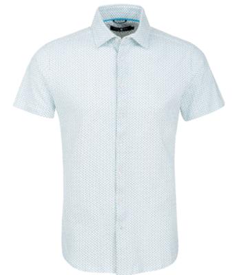 Stone Rose Light Blue Polka Dot Knit Short Sleeve Shirt