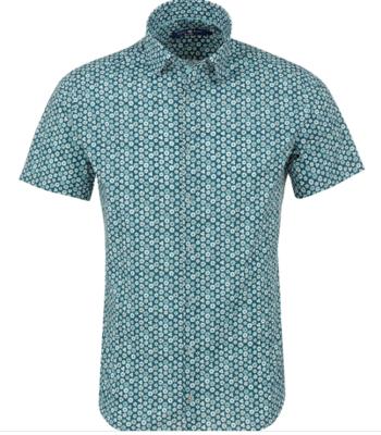 Stone Rose Turquoise Geometric Print Short Sleeve Shirt