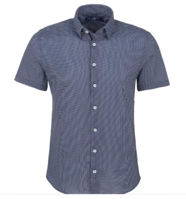 Stone Rose Navy Micro Dot Knit Short Sleeve Shirt
