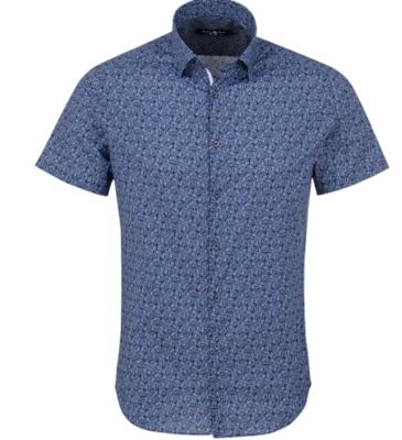 Stone Rose Navy Novelty Print Short Sleeve Shirt