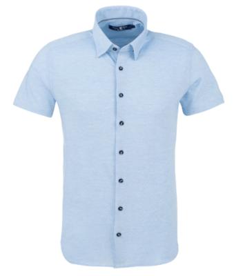 Stone Rose Light Blue Pique Knit Short Sleeve Shirt