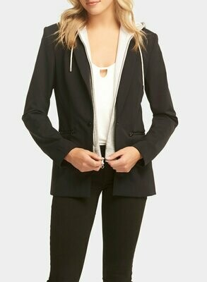 Tart Collections Save Dickey Jacket Black with Heather Grey Removable Hood