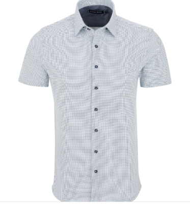 Stone Rose White Micro Dot Knit Short Sleeve Shirt