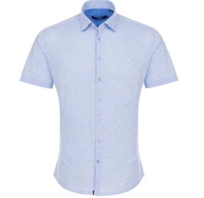 Stone Rose Baby Blue Flame Knit Short Sleeve Shirt