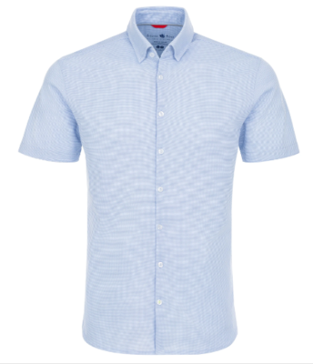 Stone Rose Blue Textured Performance Short Sleeve Shirt