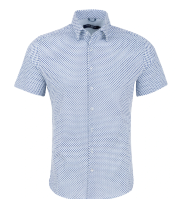 Stone Rose Navy Origami Fish Print Knit Short Sleeve Shirt