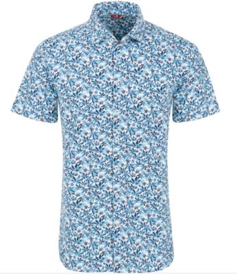 Stone Rose Blue Cannabis Leaves Knit Performance Short Sleeve Shirt