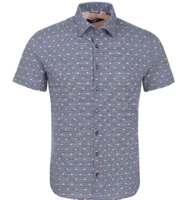 Stone Rose Navy Fish Print Knit Short Sleeve Shirt