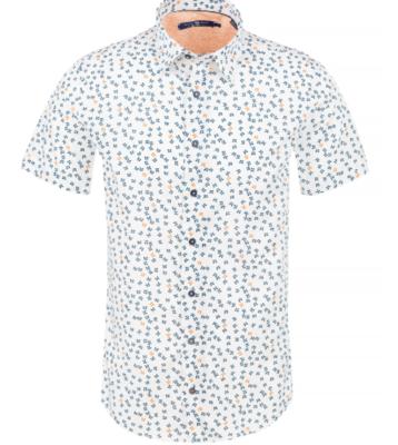 Stone Rose White Butterfly Print Knit Short Sleeve Shirt