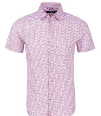 Stone Rose Dark Pink Cogs Print Short Sleeve Shirt